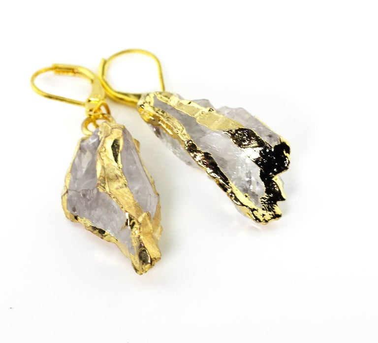 White Quartz Gold Plated Dangling Lever-back Earrings In Excellent Condition For Sale In Tuxedo Park, NY