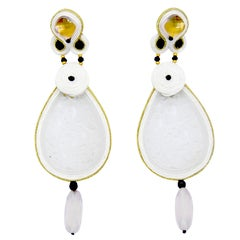White Quartz Monokrome Collection 9 Carat Gold Earrings