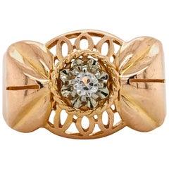 White Quartz on Rose Gold 18 Karat Retro Ring circa 1950s Art Deco Style