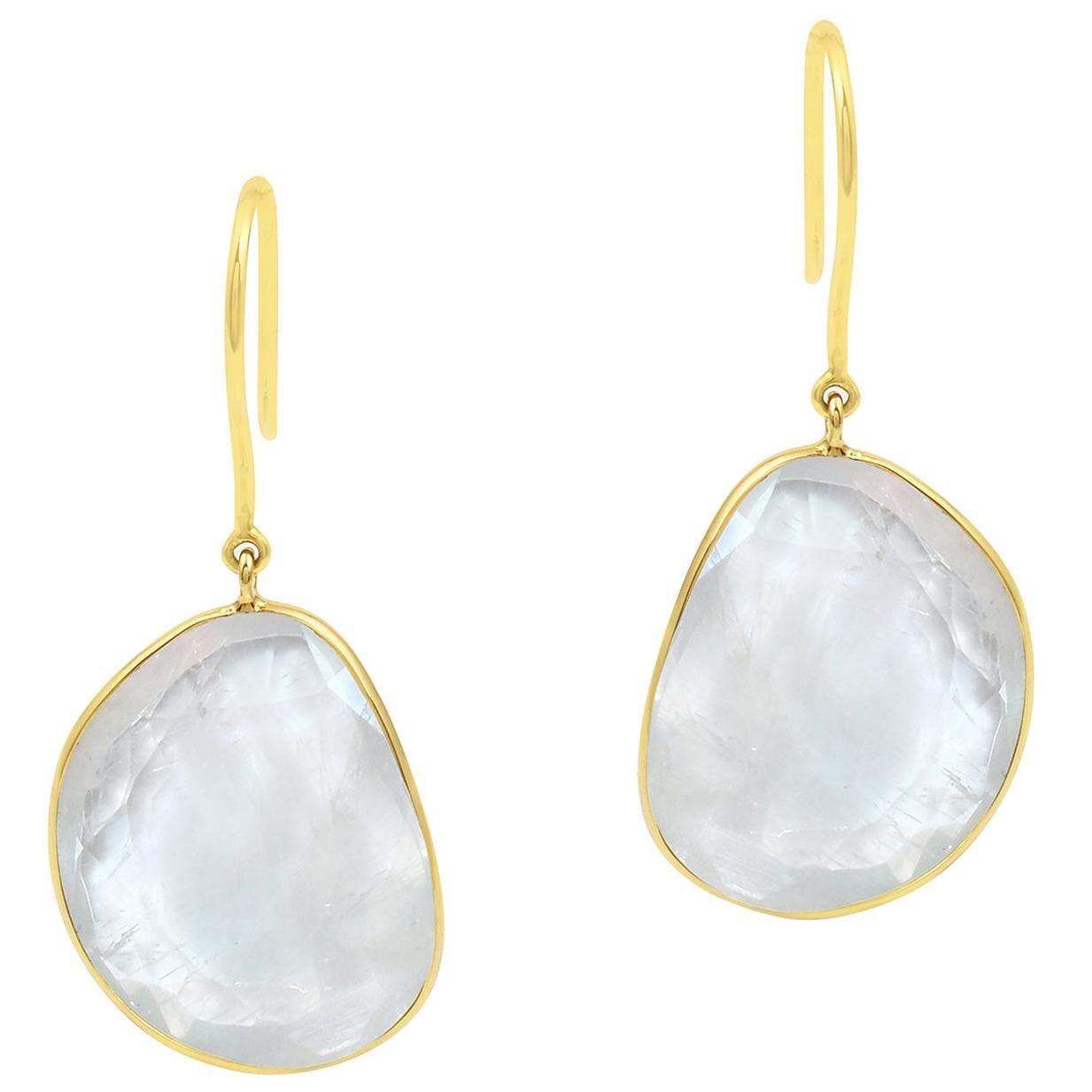 White Rainbow Moonstone Earrings, 18K Yellow Gold
