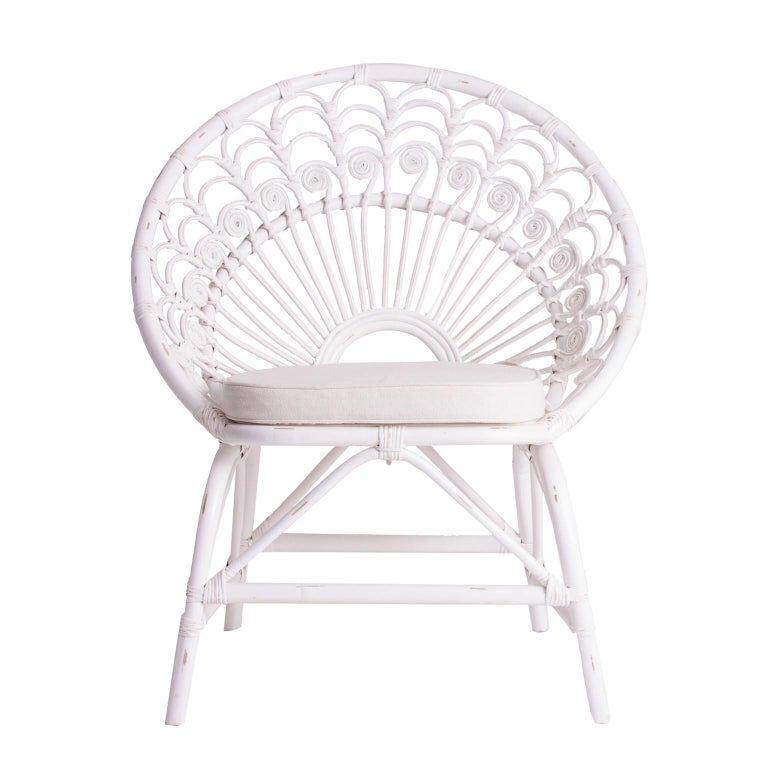 Space Age White Rattan and Wicker Peacock Armchair For Sale
