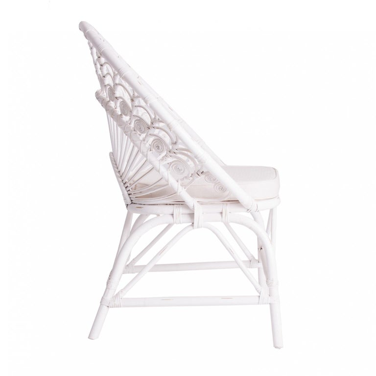 Contemporary White Rattan and Wicker Peacock Armchair For Sale