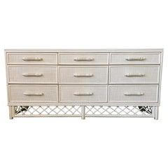 White Rattan Chinoiserie Skirted Dresser