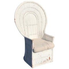 White Split Bamboo and Rattan Peacock Chair
