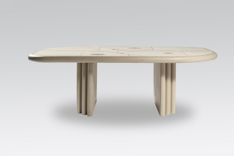 White rectangular coffee table designed and made by Design Kingma. The table has a wood base, white lacquered and is marked Design Kingma.