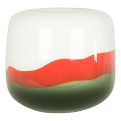 White, Red and Brown 1960s Murano Glass Vase Attributed to Salviati