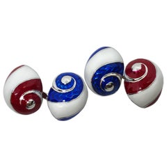 White Red Blue Hand Enameled Seashell Shaped Sterling Silver Cufflinks