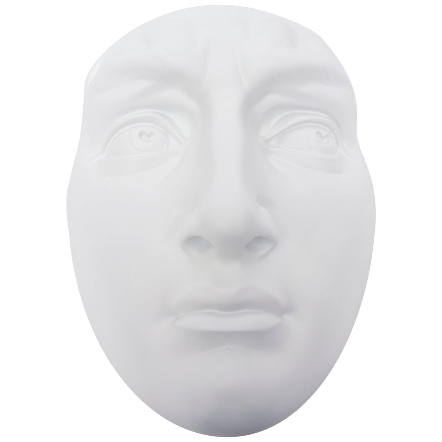 White Resin and Plaster Face Wall Sculpture, 60's