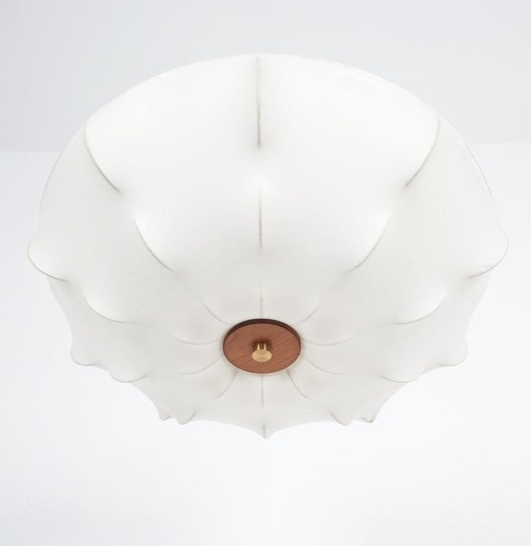 Midcentury white resin cocoon flush mount, Italy, circa 1970