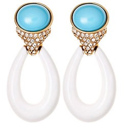 White Retro Door Knocker Earring with Crystal Rhinestones and Turquoise Cabochon