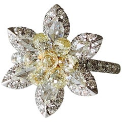 White Rose Cut Diamond and Yellow Briolette Diamond Ring in 18 Karat Gold