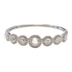 White Rose Cut Diamond Bangle in 18 Karat White Gold