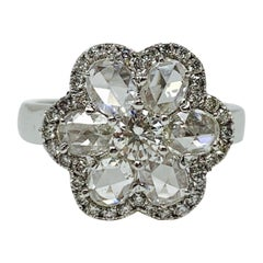 White Rose Cut Diamond Engagement Ring in 18 Karat White Gold