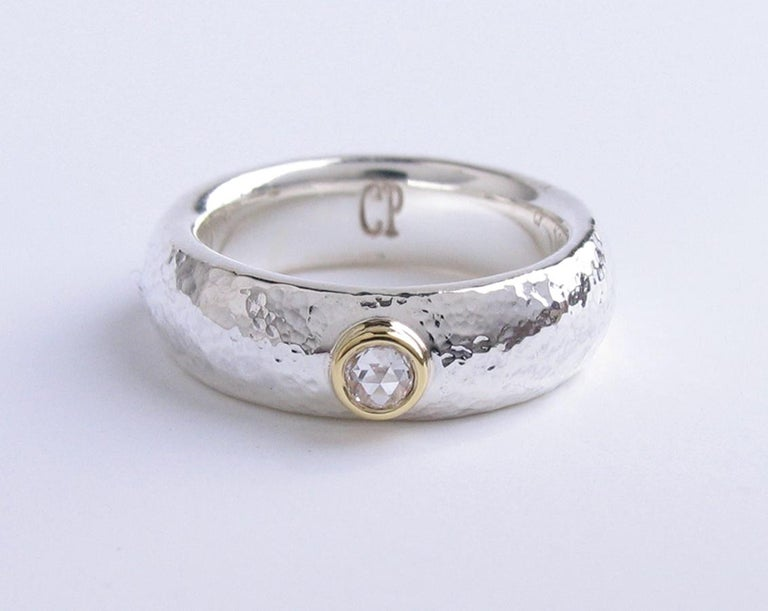 White rose cut diamond ring with sterling silver and 18k gold band, size 6 1/2.  One of a kind, handmade by jewelry artist Christopher Phelan. Diamond weight .080 carats, 3mm VS1 white rose cut diamond.  Width of ring: 6.22 mm.
