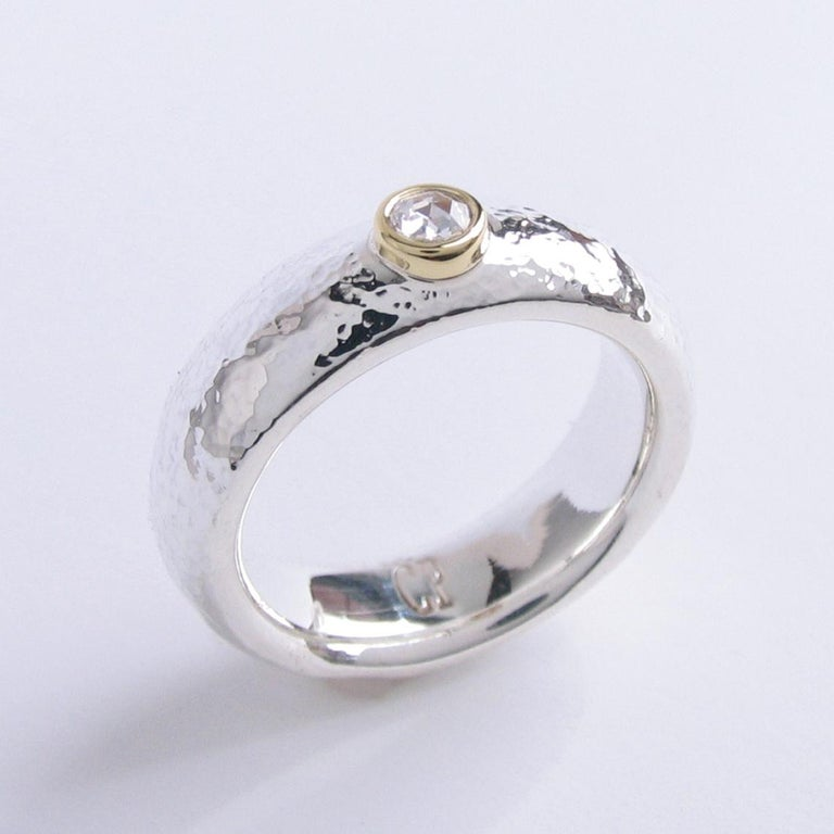 Contemporary White Rose Cut Diamond Ring In Sterling Silver & 18k Yellow Gold   For Sale