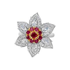 White Rose Cut Diamond Round Brilliant Diamond and Burmese Ruby Ring in 18 Karat