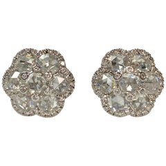 White Rose Cut Diamond Stud Earrings in 18 Karat White Gold