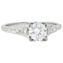 White Rose Mfg. Co. Art Deco Diamond 18 Karat White Gold Engagement Ring