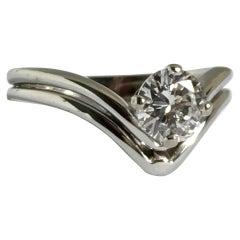 White Round Brilliant Cut Solitaire Diamond Engagement Ring 18k Gold .55ct