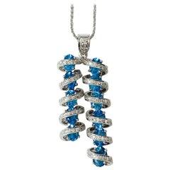 White Round Brilliant Diamond and Blue Topaz Pendant in 18k White Gold