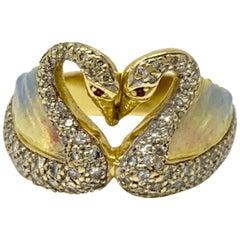 White Round Brilliant Diamond and Enamel Ring in 18 Karat Yellow Gold