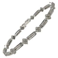 White Round Brilliant Diamond Bracelet in 18 Karat White Gold