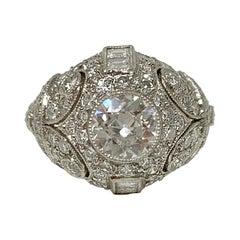 White Round Brilliant Diamond Engagement Ring in Platinum