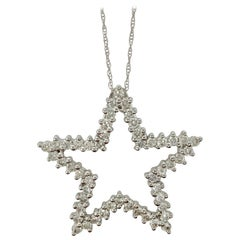 White Round Brilliant Diamond Star Pendant