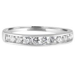 White Round Diamond 0.50 Carat Gold Channel Bridal Fashion Cocktail Band Ring