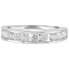 White Round Diamond 1.00 Carat Gold Channel Bridal Fashion Cocktail Band Ring