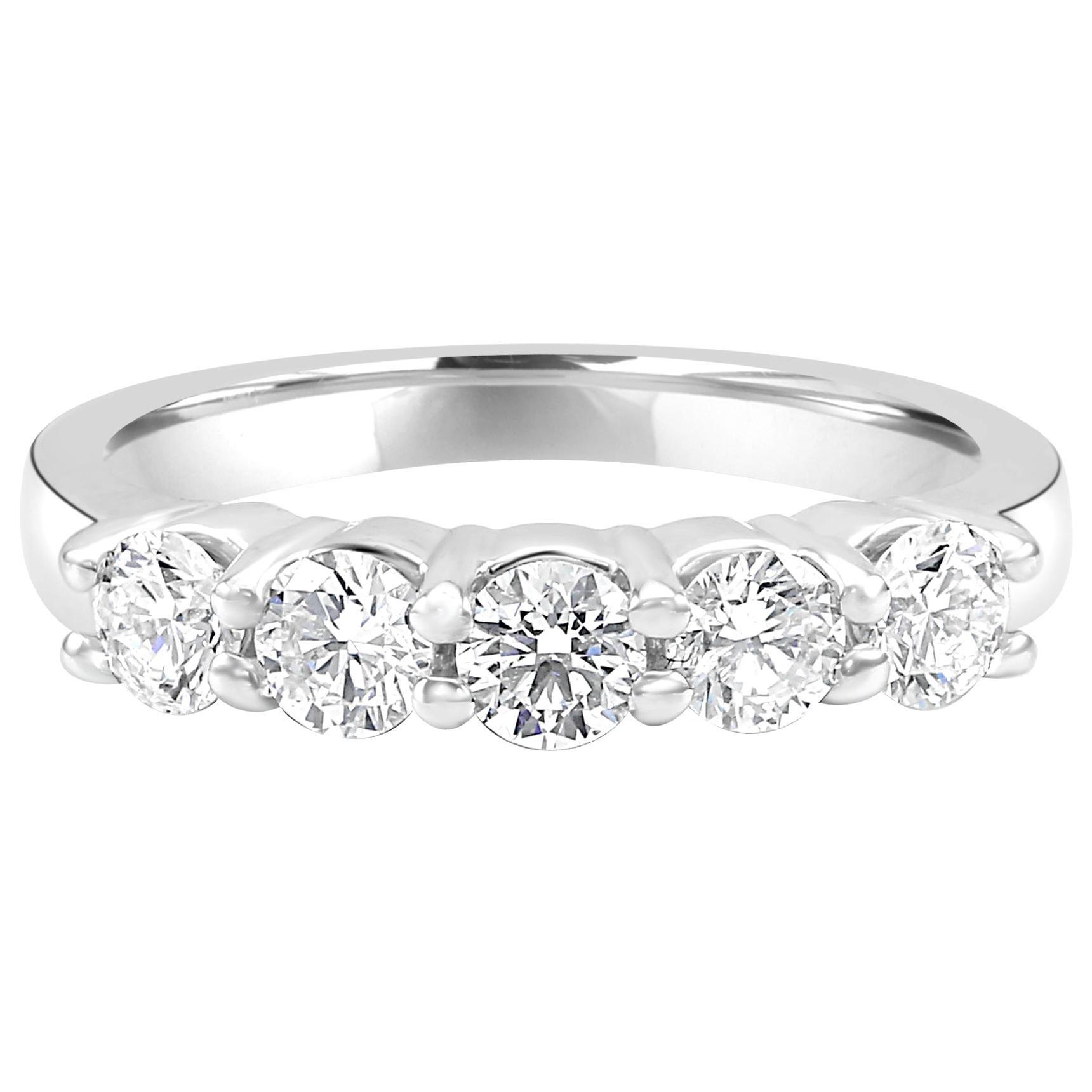 White Round Diamond 5-Stone Fashion Cocktail Gold Band Ring