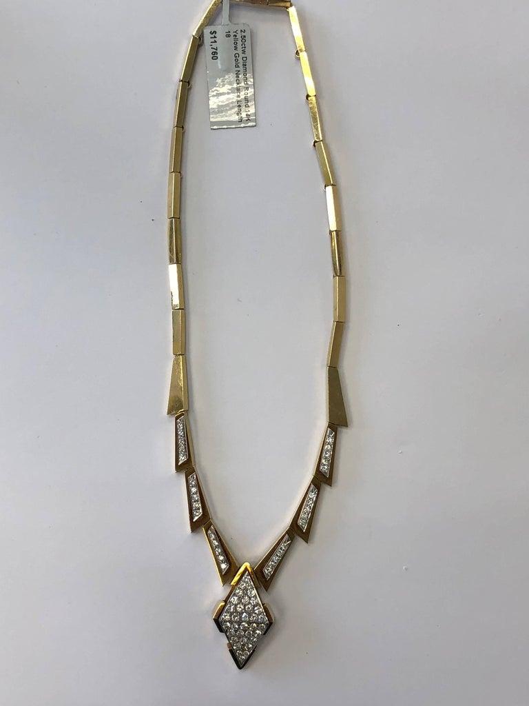 Round Cut White Round Diamond Necklace in 14 Karat Yellow Gold For Sale