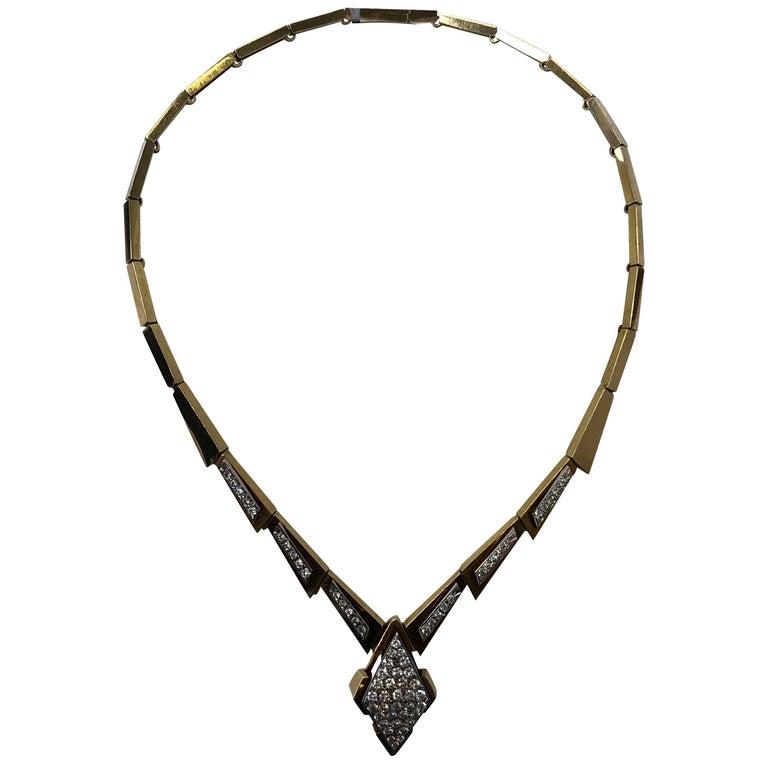 White Round Diamond Necklace in 14 Karat Yellow Gold For Sale