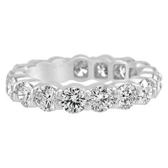 White Round Diamond Platinum Eternity Bridal Wedding Fashion Cocktail Band Ring