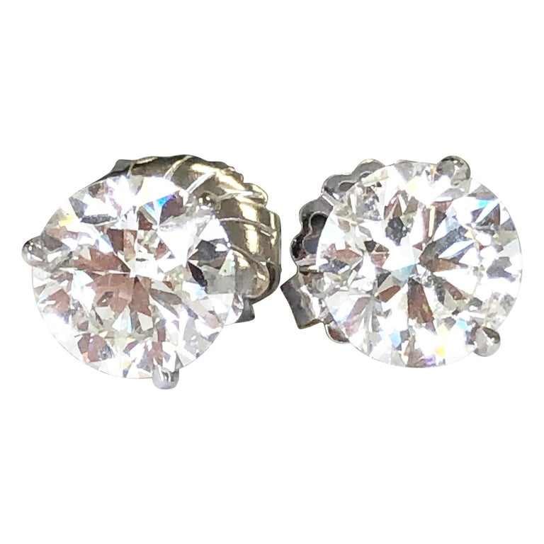 White Round Diamond Studs in 14 Karat White Gold For Sale