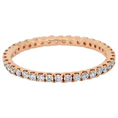 White Round Diamonds Rose Gold Eternity Band Ring