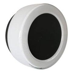 White Round Glass Black Single Sconce by BEGA, 1960s Germany