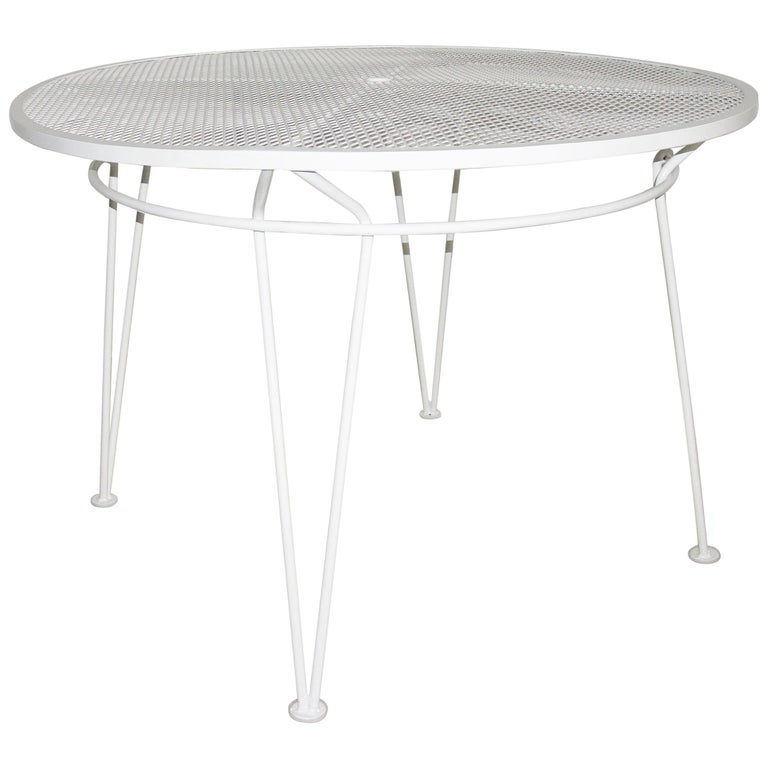 White Round Patio Dining Table For Sale