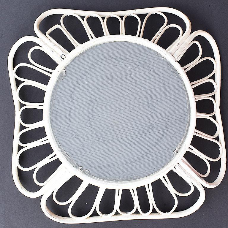Italian White Round Rattan Mirror in the Style of Franco Albini, 1970s For Sale
