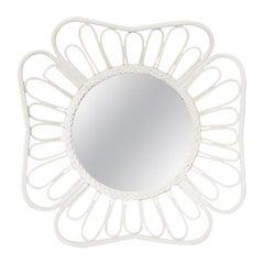White Round Rattan Mirror in the Style of Franco Albini, 1970s