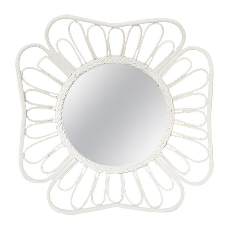 White Round Rattan Mirror in the Style of Franco Albini, 1970s For Sale