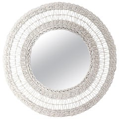 White Round Woven Wicker and Bamboo Mirror