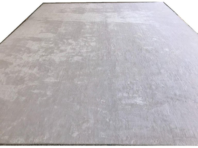 Post-Modern White Rug, Hand-Loomed, Solid Color, Soft Finish, with Slight Shine, Semi-Plush For Sale