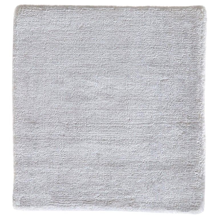 White Rug, Hand-Loomed, Solid Color, Soft Finish, with Slight Shine, Semi-Plush For Sale