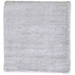 Modern Sold White Neutral Hand Loom Rug