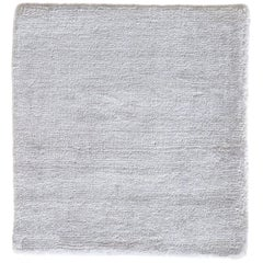 White Rug, Hand-Loomed, Solid Color, Soft Finish with Slight Shine, Semi-Plush