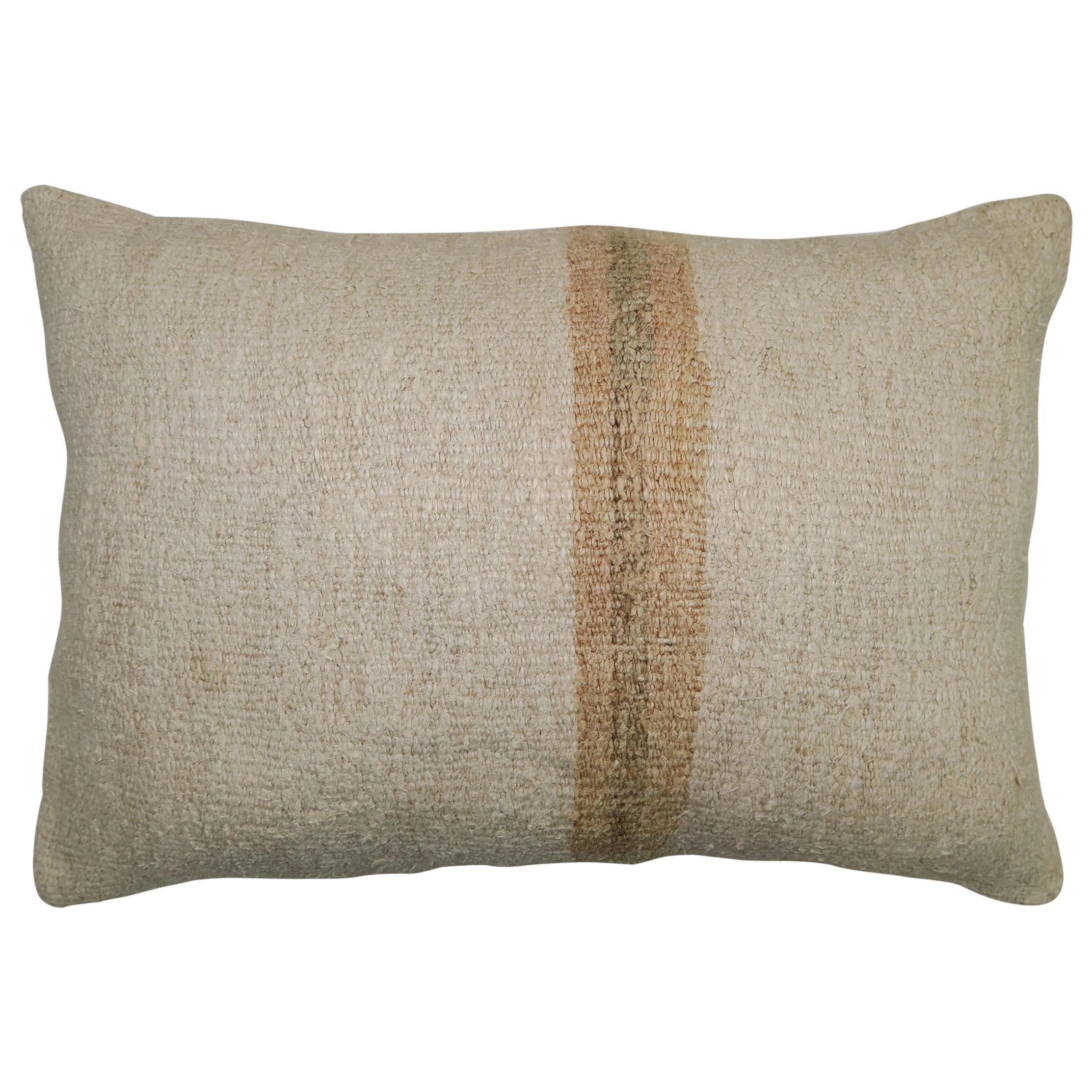 White Sand Striped Vintage Turkish Kilim Pillow