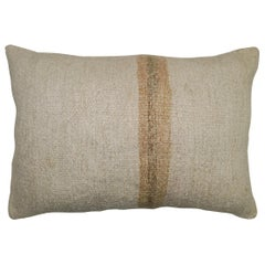 White Sand Striped Vintage Turkish Kilim Pillow