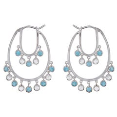 Hammerman Brothers White Sapphire and Blue Topaz Shaker Hoops