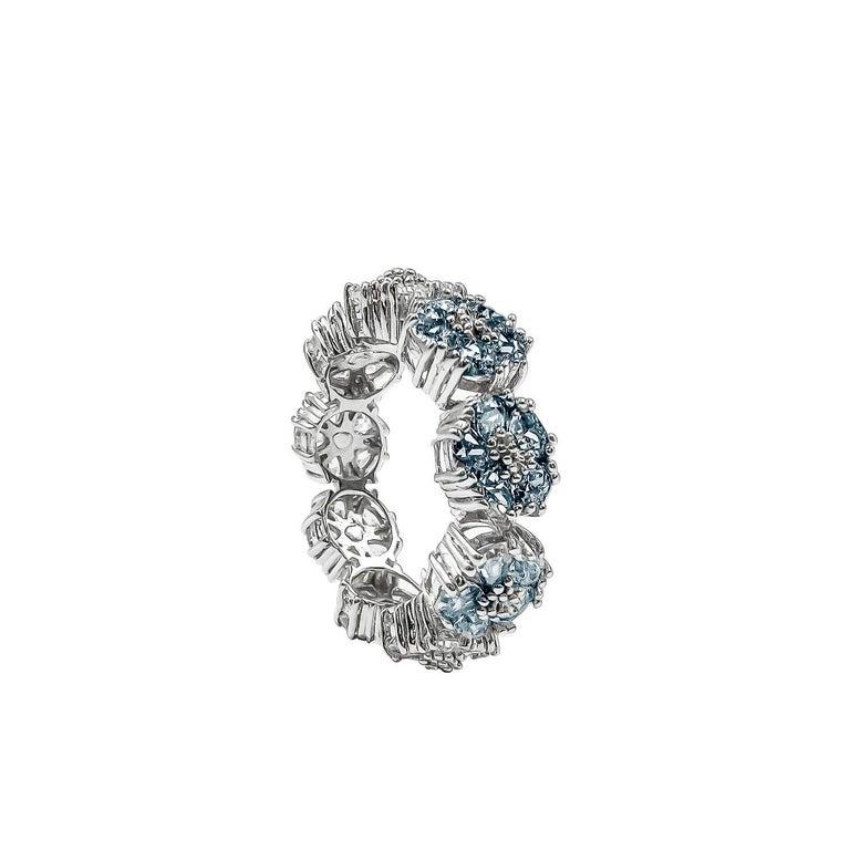 Modern White Topaz Blossom Gemstone Trinity Ring For Sale